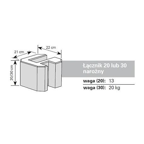 Podmurówka betonowa - łącznik narożny