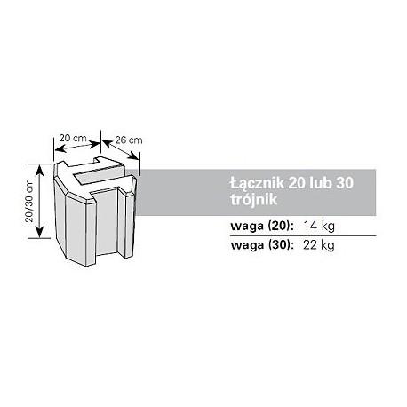 Podmurówka betonowe - łącznik trójnik