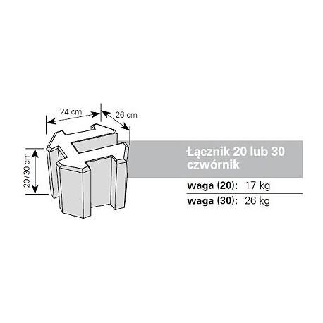 Podmurówka betonowa - łącznik czwórnik